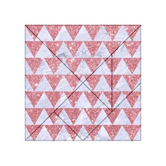 Triangle2 White Marble & Pink Glitter Acrylic Tangram Puzzle (4  X 4 ) by trendistuff