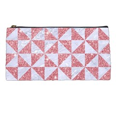 Triangle1 White Marble & Pink Glitter Pencil Cases by trendistuff