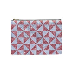 Triangle1 White Marble & Pink Glitter Cosmetic Bag (medium)  by trendistuff
