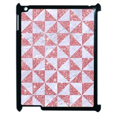 Triangle1 White Marble & Pink Glitter Apple Ipad 2 Case (black) by trendistuff