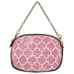 Tile1 White Marble & Pink Glitter Chain Purses (one Side)  by trendistuff