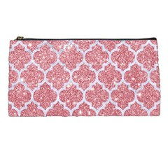 Tile1 White Marble & Pink Glitter Pencil Cases by trendistuff