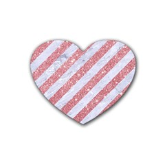 Stripes3 White Marble & Pink Glitter (r) Heart Coaster (4 Pack)  by trendistuff