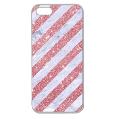 Stripes3 White Marble & Pink Glitter (r) Apple Seamless Iphone 5 Case (clear) by trendistuff