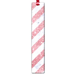 Stripes3 White Marble & Pink Glitter (r) Large Book Marks by trendistuff