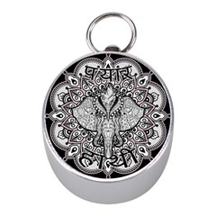 Ornate Hindu Elephant  Mini Silver Compasses by Valentinaart