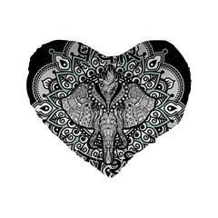 Ornate Hindu Elephant  Standard 16  Premium Heart Shape Cushions by Valentinaart