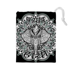 Ornate Hindu Elephant  Drawstring Pouches (large)  by Valentinaart