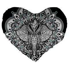 Ornate Hindu Elephant  Large 19  Premium Heart Shape Cushions by Valentinaart