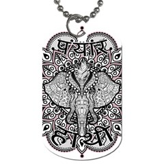 Ornate Hindu Elephant  Dog Tag (two Sides) by Valentinaart