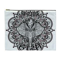 Ornate Hindu Elephant  Cosmetic Bag (xl) by Valentinaart