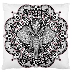 Ornate Hindu Elephant  Large Cushion Case (two Sides) by Valentinaart