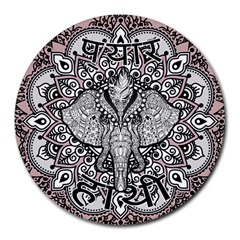 Ornate Hindu Elephant  Round Mousepads by Valentinaart