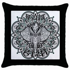 Ornate Hindu Elephant  Throw Pillow Case (black) by Valentinaart