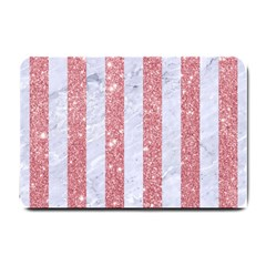 Stripes1 White Marble & Pink Glitter Small Doormat  by trendistuff