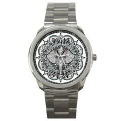 Ornate Hindu Elephant  Sport Metal Watch by Valentinaart