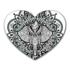 Ornate Hindu Elephant  Heart Mousepads by Valentinaart