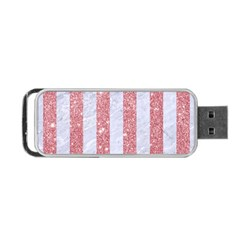 Stripes1 White Marble & Pink Glitter Portable Usb Flash (two Sides) by trendistuff