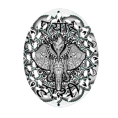 Ornate Hindu Elephant  Ornament (oval Filigree) by Valentinaart