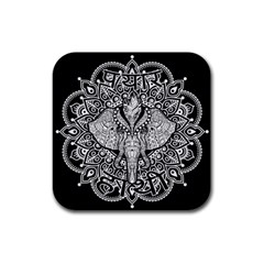 Ornate Hindu Elephant  Rubber Square Coaster (4 Pack)  by Valentinaart