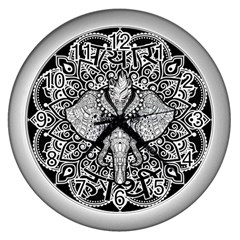 Ornate Hindu Elephant  Wall Clocks (silver)  by Valentinaart