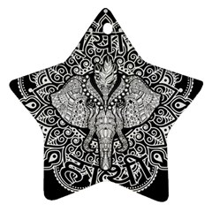 Ornate Hindu Elephant  Star Ornament (two Sides) by Valentinaart