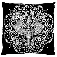 Ornate Hindu Elephant  Large Cushion Case (one Side) by Valentinaart