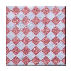 Square2 White Marble & Pink Glitter Face Towel by trendistuff