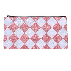 Square2 White Marble & Pink Glitter Pencil Cases by trendistuff