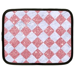 Square2 White Marble & Pink Glitter Netbook Case (xl)  by trendistuff