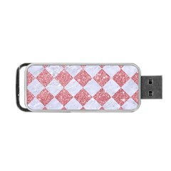 Square2 White Marble & Pink Glitter Portable Usb Flash (two Sides) by trendistuff