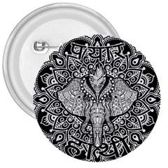 Ornate Hindu Elephant  3  Buttons by Valentinaart