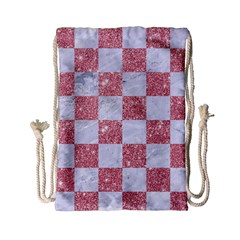 Square1 White Marble & Pink Glitter Drawstring Bag (small) by trendistuff