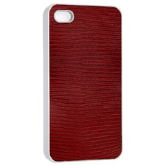 Red Lizard Leather Print Apple Iphone 4/4s Seamless Case (white)