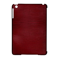 Red Lizard Leather Print Apple Ipad Mini Hardshell Case (compatible With Smart Cover)