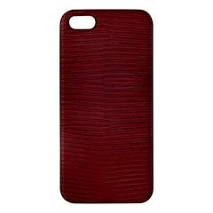 Red Lizard Leather Print Apple Iphone 5 Premium Hardshell Case