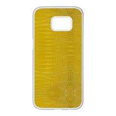 Yellow Alligator Skin Samsung Galaxy S7 Edge White Seamless Case