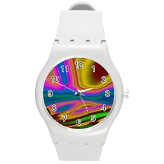 Colorful Waves Round Plastic Sport Watch (m)