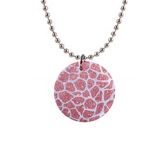 Skin1 White Marble & Pink Glitter (r) Button Necklaces