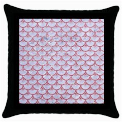Scales3 White Marble & Pink Glitter (r) Throw Pillow Case (black) by trendistuff