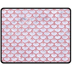 Scales3 White Marble & Pink Glitter (r) Fleece Blanket (medium)