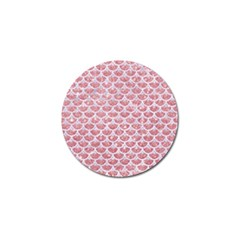 Scales3 White Marble & Pink Glitter Golf Ball Marker by trendistuff