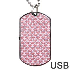 Scales3 White Marble & Pink Glitter Dog Tag Usb Flash (two Sides) by trendistuff