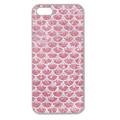 Scales3 White Marble & Pink Glitter Apple Seamless Iphone 5 Case (clear) by trendistuff