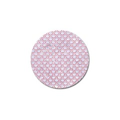 Scales2 White Marble & Pink Glitter (r) Golf Ball Marker (4 Pack)