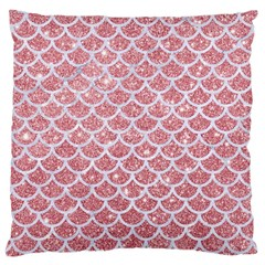 Scales1 White Marble & Pink Glitter Large Cushion Case (two Sides) by trendistuff