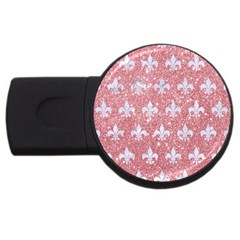 Royal1 White Marble & Pink Glitter (r) Usb Flash Drive Round (4 Gb) by trendistuff