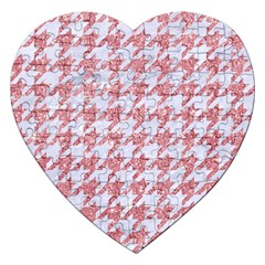 Houndstooth1 White Marble & Pink Glitter Jigsaw Puzzle (heart) by trendistuff