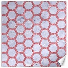 Hexagon2 White Marble & Pink Glitter (r) Canvas 16  X 16   by trendistuff