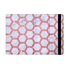 Hexagon2 White Marble & Pink Glitter (r) Apple Ipad Mini Flip Case by trendistuff